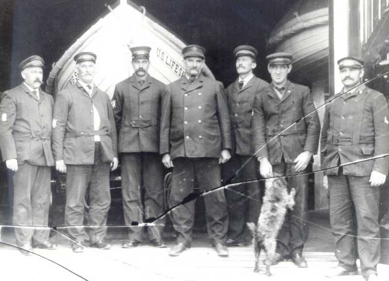 Original Photo of Life Saving Station Crew in Front of Boat